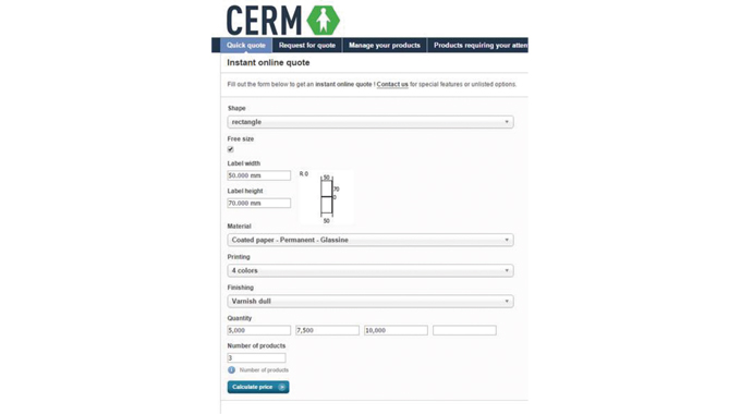Figure 1.3 Instant on-line label quote form using Cerm MIS software