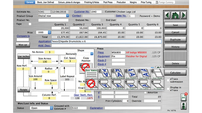 Figure 1.4 Label Traxx Online label estimate process showing items such as quantity, wind direction,