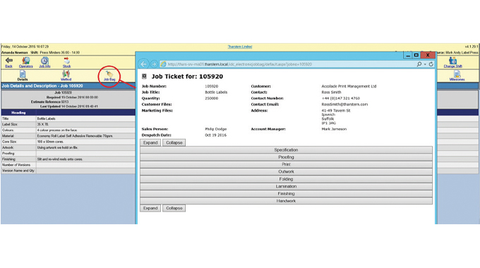 Figure 1.5 Viewing of the job ticket on the shop floor using Tharstern MIS software without the need