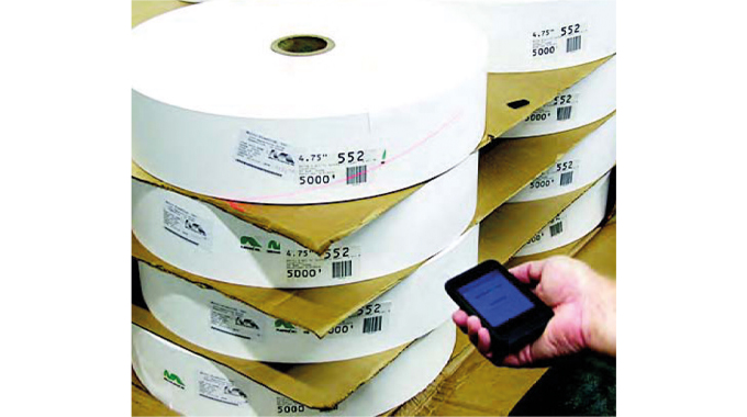 Figure 1.7 Barcode scanning of rolls using an iPod  scanner. Source Label Traxx