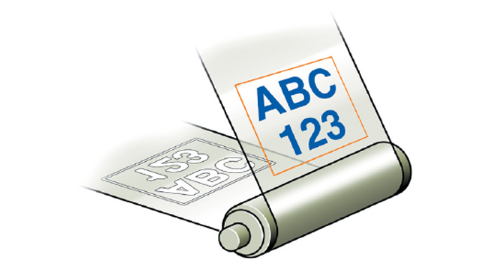 Figure 13.9 - Printing on the underside of a transparent film with the printed image then read from