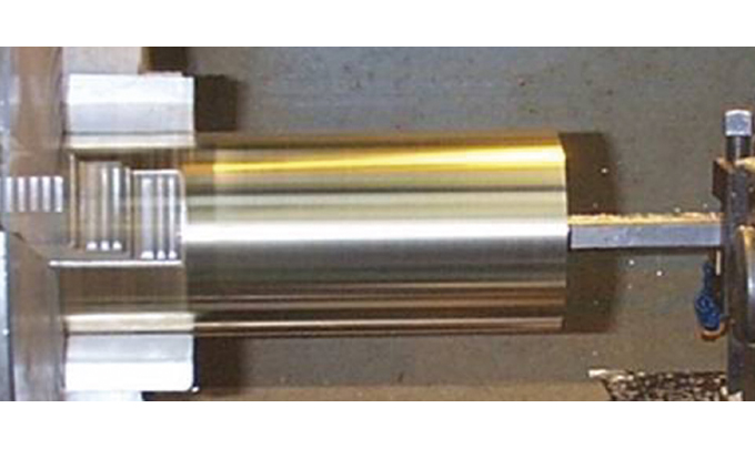 Figure 2.10 - Machining the die cylinder to correct diameter