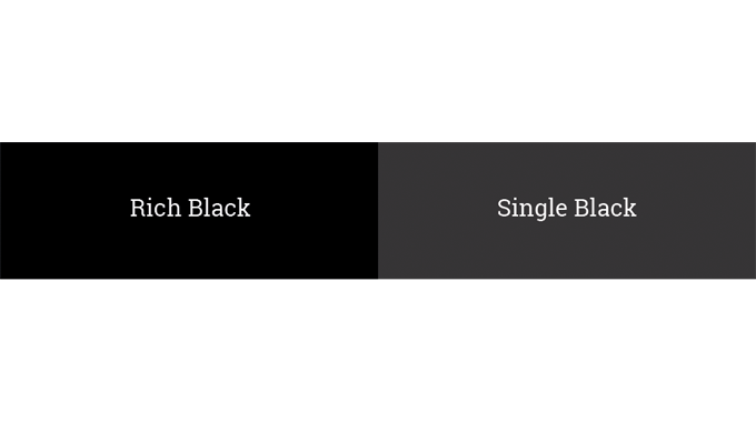 Figure 2.10 - The visual difference of a single Black versus Rich Black created from CMYK
