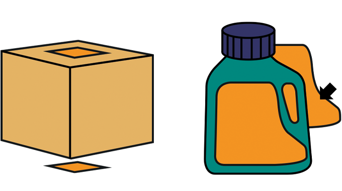 Figure 2.12/2.13 - Application of labels to the top and bottom of packs (left) and Application to th