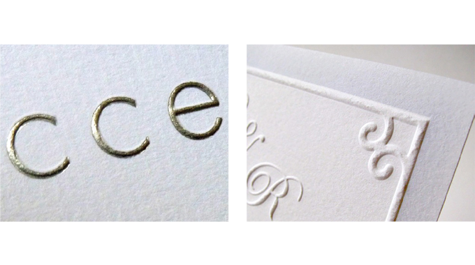 Figure 2.12 - Typical embellishments used in label printing (foil stamping and embossing)