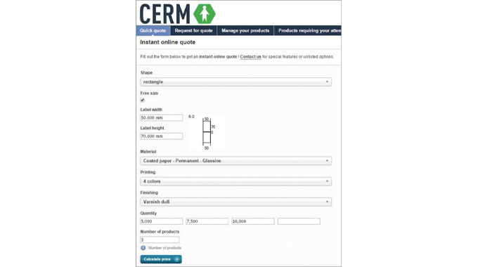 Figure 2.2 Instant Online quote form using Cerm MIS software