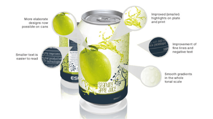 Figure 2.3 Dry offset printing on cans using Esko HD letterpress
