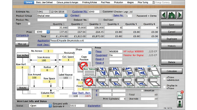 Figure 2.3 Label Traxx Online estimate process showing items such as quantity, wind direction, size,