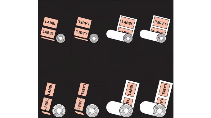 Figure 2.4 - Rewind options available with pressure-sensitive applicators