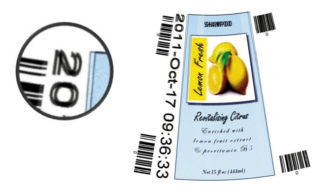 Figure 3.11 Image printed onto a cone with no image compensation. Supplied by Global Inkjet Systems