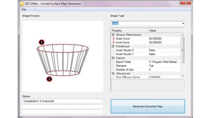 Figure 3.12 Density & screener correction software. Supplied by Global Inkjet Systems