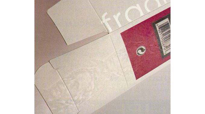 Figure 3.6 - A mold watermarked paper lined onto a pasteboard carton provides good visibility in ref