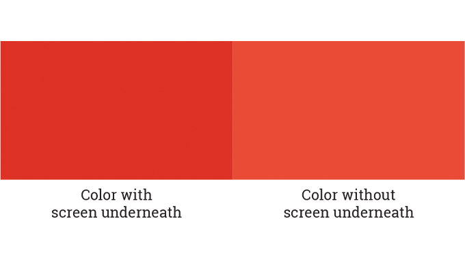 Figure 3.7 - The effect on color density when using an additional screen tint