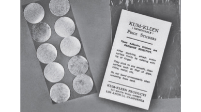 Figure 4.1 Early Kum-Kleen pressure sensitive labels, first produced in Europe by Sessions of York i