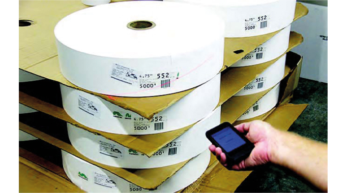 Figure 5.3 Barcode scanning of rolls using an iPod scanner. Source- Label Traxx