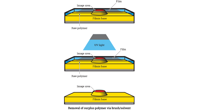 figure 5.5 - plate making process illustrating the plate structure plate exposure and removal of sur
