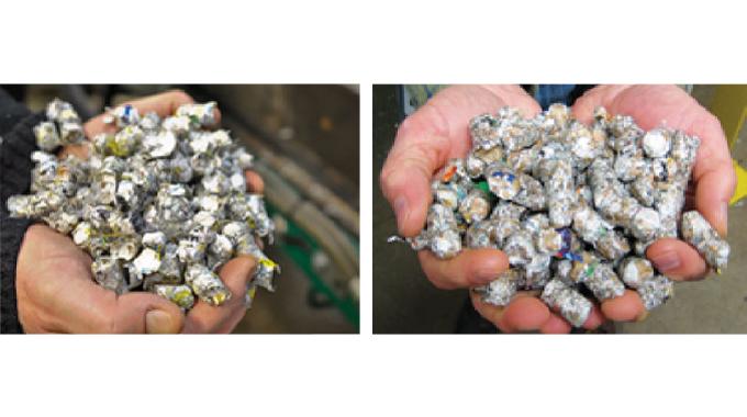 Figure 5.7 - Biomass fuel pellets from label waste