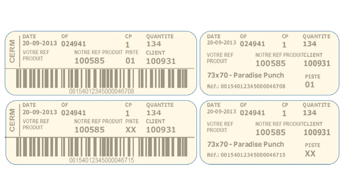 Figure 5.9 Printed closing (left) and core labels (right) for roll identification. Source- Cerm