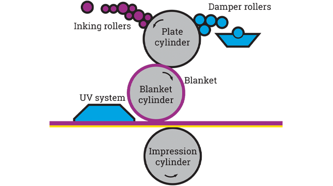 Figure 6.2 - Schematic of an offset litho printing press or print unit