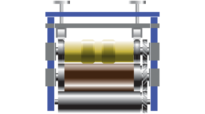 Figure 6.4 - A rotary hot foiling unit showing the heated die cylinder, anvil and assist rollers
