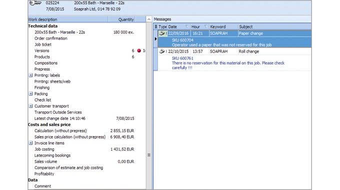 Figure 6.5 The Cerm complaints software displays messages about problems or complaints