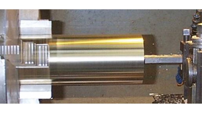 Figure 6.8 - Machining the die cylinder to correct diameter