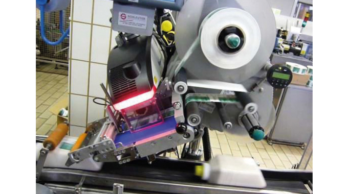 Figure 6.8 - Shows a 10 watt laser printing on to Catchpoint linerless labels