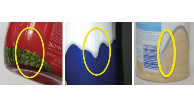 Figure 7.12, 7.13 and 7.14 Sleeved containers where the label designer achieved perfect graphic alig