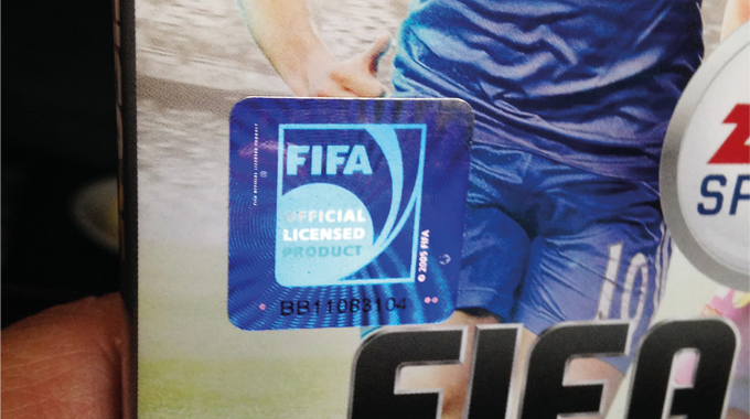 Figure 7.7 - An embossed hologram foil label used in product authentication