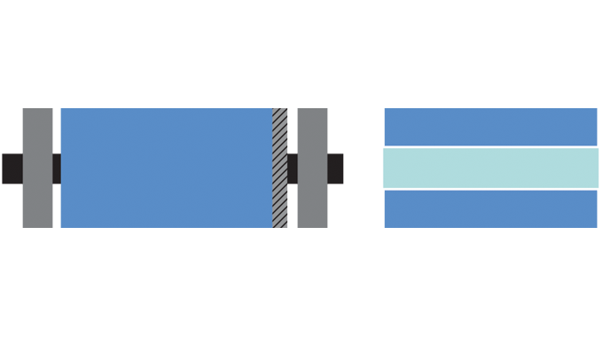 Figure 7.7 - On the left, a conventional printing cylinder with gear and bearer rings; on the right,