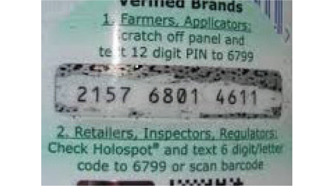 Figure 8.6 - Shows the use of a scratch off protected code that can be used to check authenticity. T