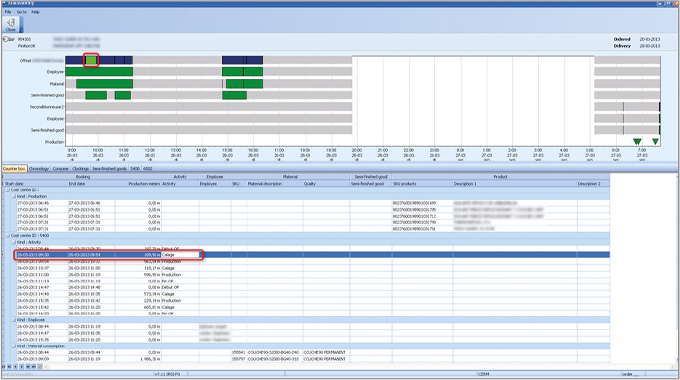 Figure 8.7 Job traceability report with production steps  (upper part), production, products and mat