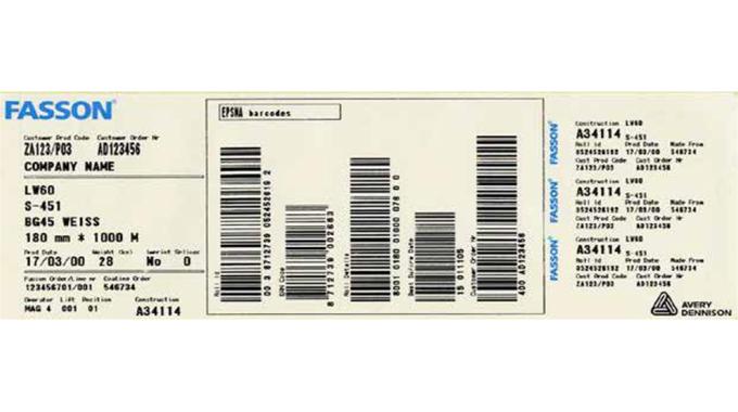 Figure 9.4 Epsma roll identification label