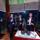 L-R: Mark Day, Wesley Alves and Hubert de Boisredon celebrate the anniversary