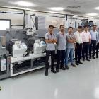 A new Bobst M5 430 press installed at Apex International's FlexoKite experience center in Sinnar near Nashik, India