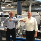 L-R: Rickard Rafstedt, account manager at Heidelberg Sverige; and Patrik Jenemark, managing director at Nordvalls Etikett in front of their first Gallus Labelmaster.