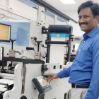 Muralidhar T, director of Medpack India with his Tecnocut E-Diff system for narrow web presses