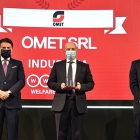L-R: Giuseppe Conte, prime minister of Italy, Antonio Bartesaghi, CEO of Omet, and Marco Sesana, country manager and CEO of Generali Italia