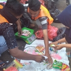 Collection of waste and hand sorting is part os Project Stop initiatives in Indonesia