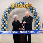 Glenn and Sue Hutchison, the chairman of the board and his wife, cut the ribbon. Also pictured are Larry Hutchison and Jim Hutchison