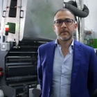 Giacomo Romano, CEO of Be Packaging, with Omet X7