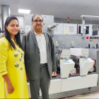 Deepak Gupta, CEO, Shree Lamipack (right) with Divya Gupta in front of the newly installed Bobst M1 Nova label printing press