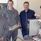 The three new Zanders mechatronics engineers with their instructor (from left): Raphael Schwaab, Finn Kuhlmann, Thomas Cuerten (instructor) and Nils Mueller.