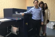 Konica Minolta AccurioLabel 190 installed at Gurong Printing. From left: Lawrence Zhang; Jean Li, managing vice president of the label printing branch of PEIAC; Jia Yan, vice secretary of the label printing branch of PEIAC