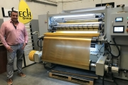 Leftech CEO Martin Fraire with the foil slitter from Hangzhou Hansoar Machinery