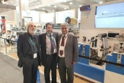 Abhay Datta (right) at Labelexpo Europe 2019, where UV Graphic sold seven presses