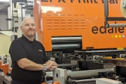 Shaun Buchanan, new after sales manager at Edale with an FL3 Flexographic label and packaging press