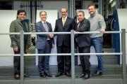 L to R: Aditya Surana from Indo-Polygraph Machinery; Dietmar Heyduck, Koenig & Bauer; Ramesh Kejriwal, chairman, Parksons Packaging; Bhupinder Sethi and Sascha Fischer, Koenig & Bauer