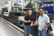 L-R: Lan Tran, regional service manager at Nilpeter Asia Pacific; Dharmadi Bongso, owner of Master Label with the new 22in Nilpeter FA-Line