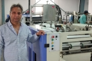 Ajay Jain, Owner International Business Forms with the new Jetsci Global inkjet head by Monotech Systems